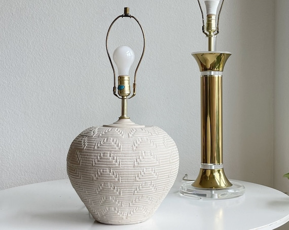 mid century modern textured white ceramic table lamp
