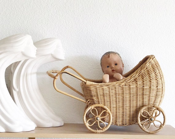 woven wicker rolling toy buggy carriage | baby doll tram