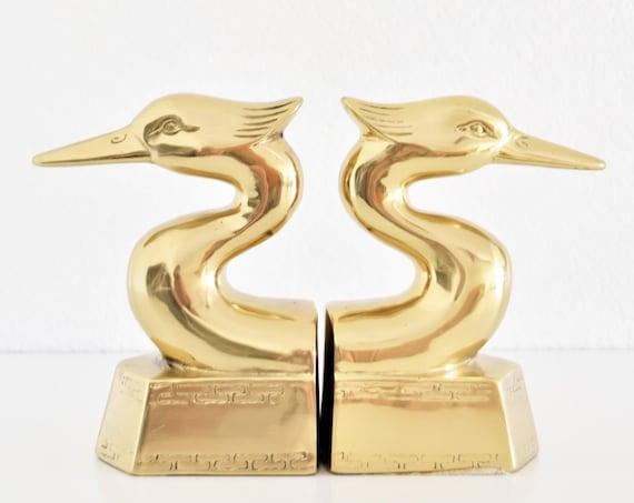 mid century modern brass heron bird head office bookends | regal duck statues
