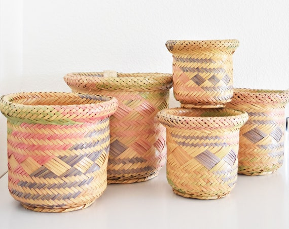 fabulous pink patterned set of 5 woven nesting rattan wicker basket planters   stacking mid century containers