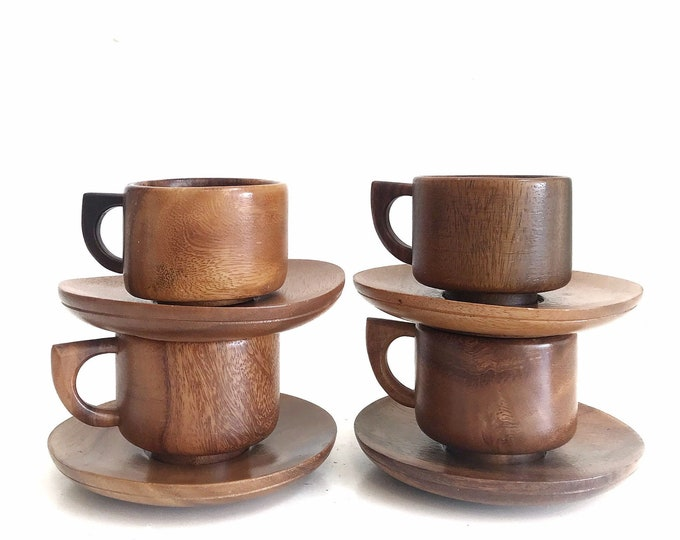 set of 2 solid wood cups and saucers | asymmetric shaped mugs