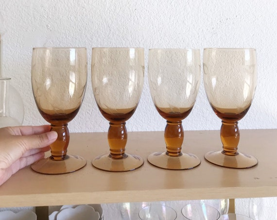 large smokey brown stemware drinking water glasses / wine glass set of 4