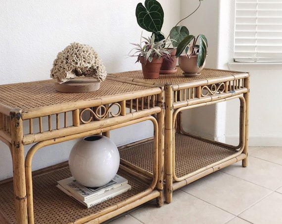 mid century modern woven cane bamboo rattan side tables | chinoiserie style home furniture