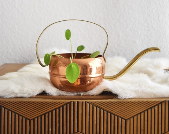 mid century modern copper brass watering can vase with spout