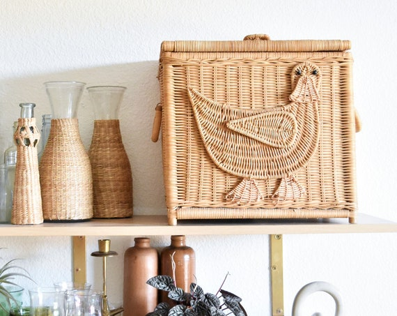 kids bird duck woven wicker storage toy box with lid and handles