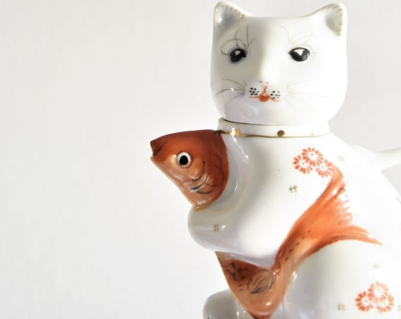 vintage white porcelain cat and goldfish creamer cat teapot figurine \ gift for cat lover