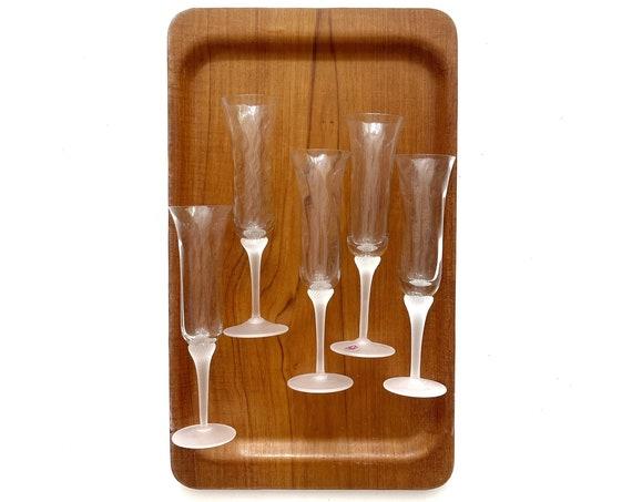 vintage set of 5 modern frosted white glass cocktail stemware | wedding flute wine glasses