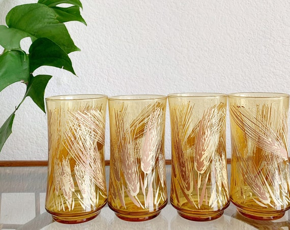vintage set of libbey fern wheat cocktail drinking glasses