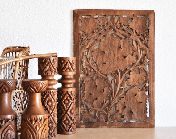 vintage indian carved solid wood trivet panel / boho