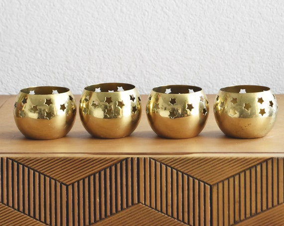 set of mid century celestial star brass filigree candleholders / set of 4