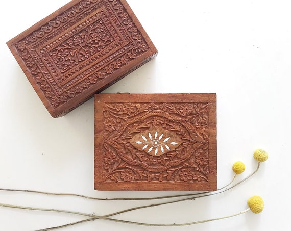 indian carved ornate wooden gift box | office file storage / note holder