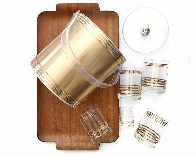 1990s retro gold ice bucket with glass tumblers and shot glass set