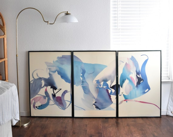peter kitchell unlimited human limits triptyc poster | large framed 1980s modern abstract art print