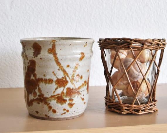 gorgeous speckled burnt orange stoneware flower pot vase   studio pottery planter
