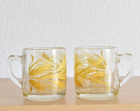 mid century modern libbey glass harvest autumn set of clear glass wheat coffee mugs