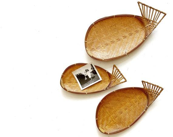 woven rattan bamboo fish wall hanging baskets | fish figurine sculpture