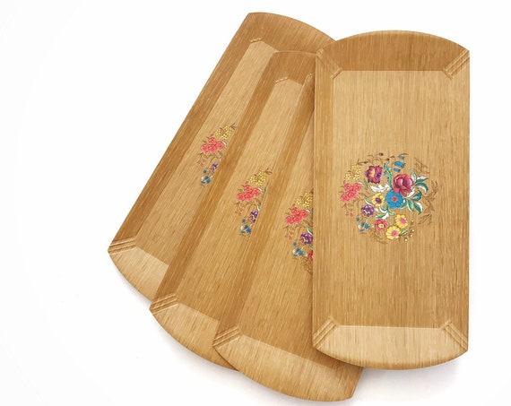 mid century modern vintage plywood serving tray set | wood breakfast trays
