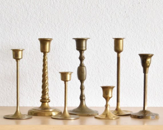 set of 7 solid brass ornate candle holders / instant collection of candlestick holders