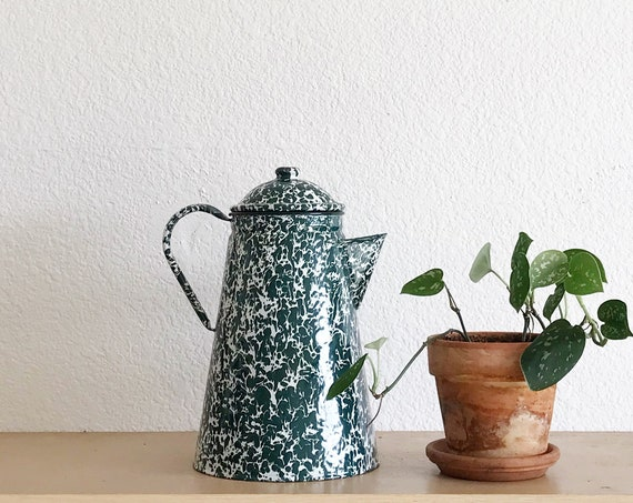mid century speckled green enamel tin coffee pot with handle / watering can / pail