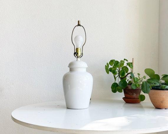 danish modern white 1980s ceramic table lamp
