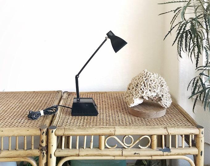 vintage industrial adjustable black brown office lamp / small desk lamp