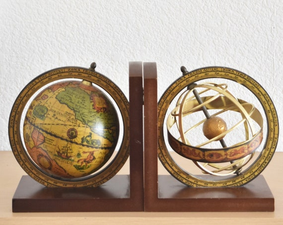 mid century modern italian mapsa musical globe bookend set of 2 | pair of music world map bookends