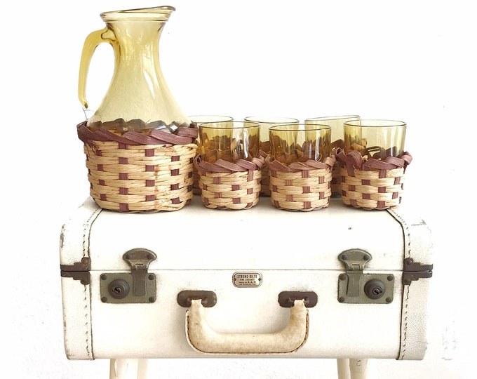 vintage wicker juice pitcher and glass set | boho drinking tumblers with inserts