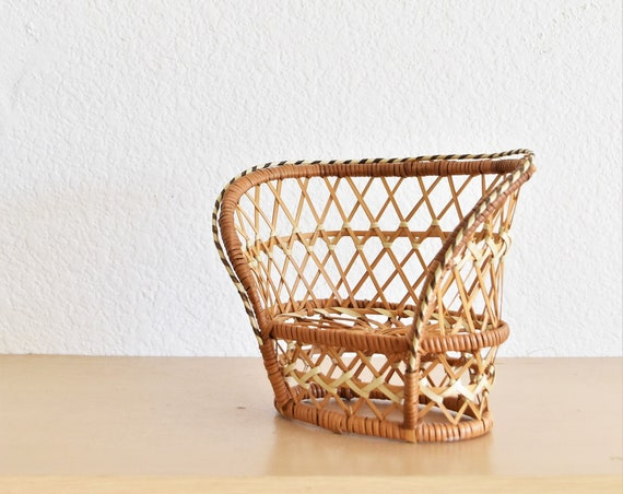 vintage mini doll woven rattan peacock chair / plant stand