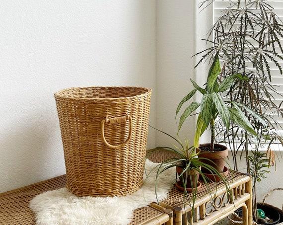 wicker storage basket with handles / laundry basket
