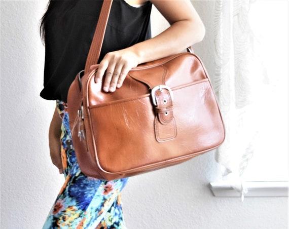 vintage sears tan brown vinyl samsonite carry on bag with keys / weekender