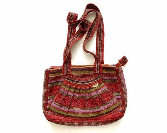 vintage red pink striped shoulder hippie boho bag / boho / mexican / pinzon / over the shoulder