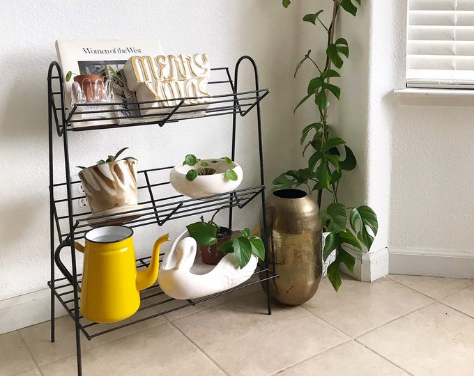 mid century modern black wire table plant stand | tiered shelf