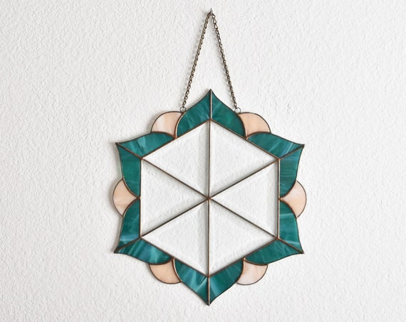 flower stained glass prism hanging ornament | beveled glass art window panel suncatcher