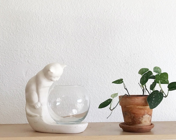 haeger clay white cat glass fish bowl figurine sculpture | kitty statue
