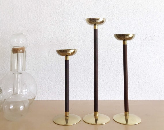 vintage tall mid century modern wood brass votive candleholder set | trio collection