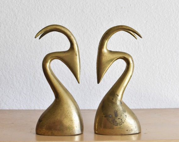 abstract mid century modern solid brass gazelle deer head figurine bookend sculpture set / statue