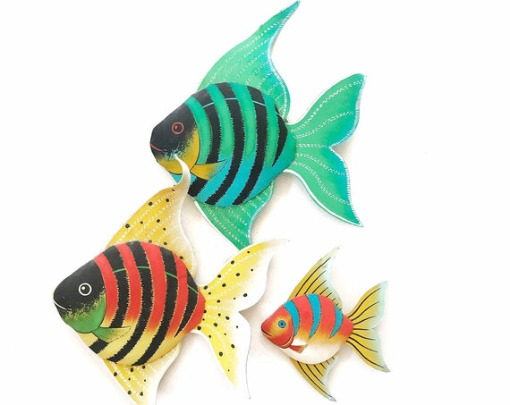 set of 3 tropical fish figurine sculpture toys | under the sea birthday party decorations