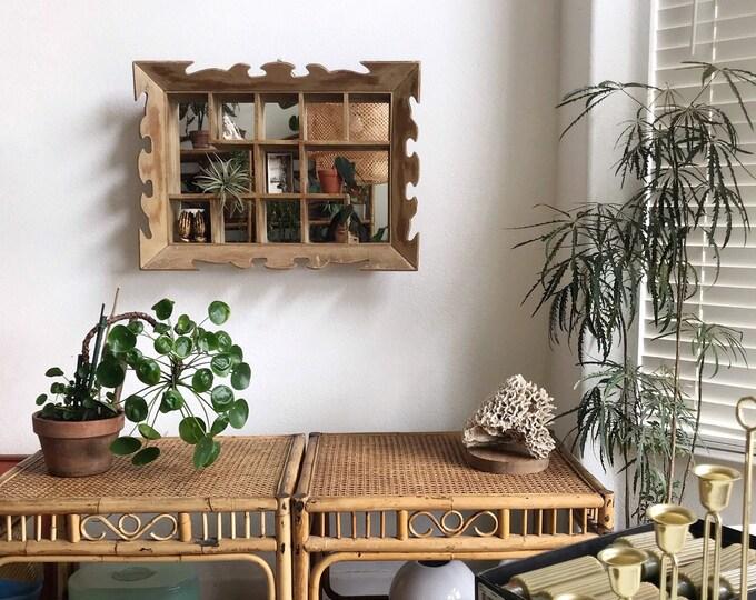 large antique wall hanging wooden mirror printer's box / curio shadow box / pocket shelf