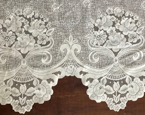sheer short white lace flower valance window curtain panel / cottage chic