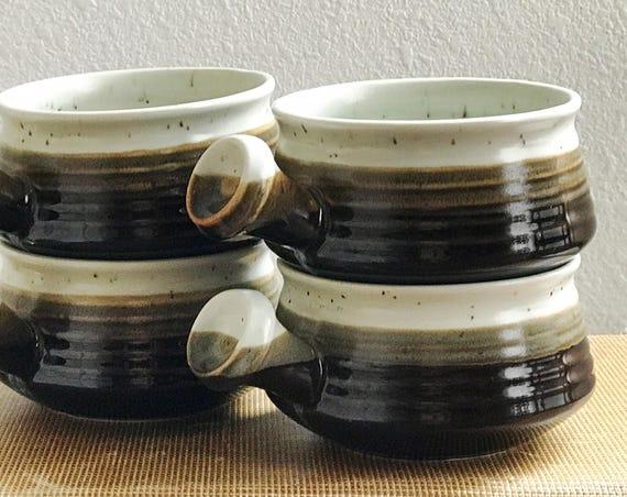 vintage set of 4 brown speckled stoneware soup cracker bowls / mugs