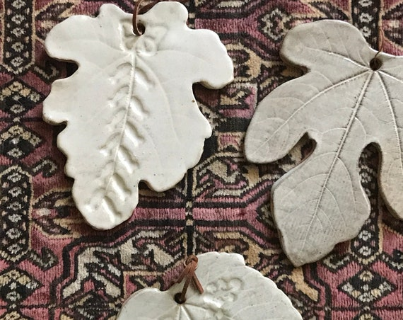 wall hanging stoneware maple leaf ornament | fall autumn home decor