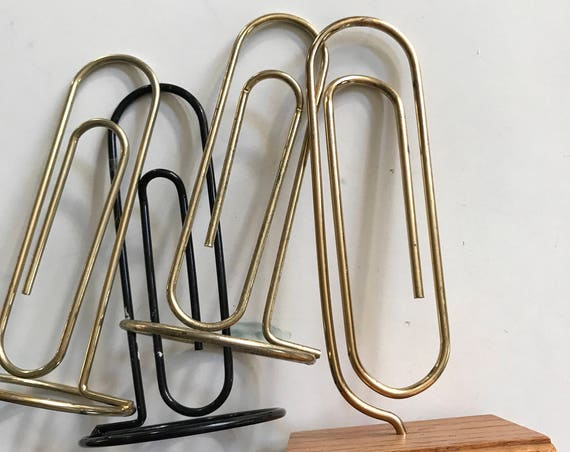 large vintage brass paperclip photo stand / paper clip / photo prop