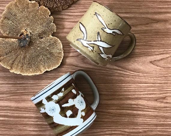 vintage stoneware coffee mug / sea gulls birds flying / flower