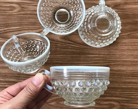 anchor hocking moonstone clear opalescent coffer tea cups / milk glass teacups / set of 4