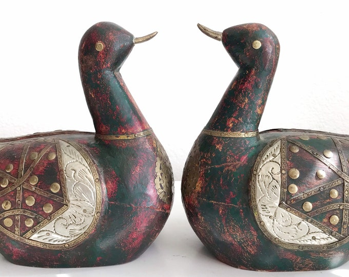 set of 2 carved indian solid wood mid century regal bird duck office bookends