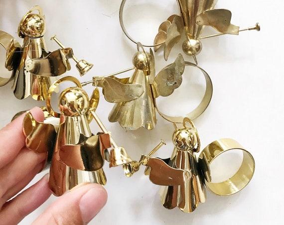 gold metal Christmas angel napkin ring holders | napkin holder dinner table decor