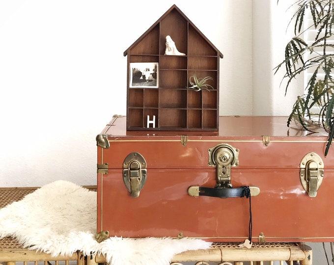 solid wood house curio shadow box / wall hanging shelf