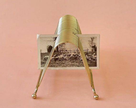 mid century modern small gold metal desk record magazine file holder/ retro note card storage