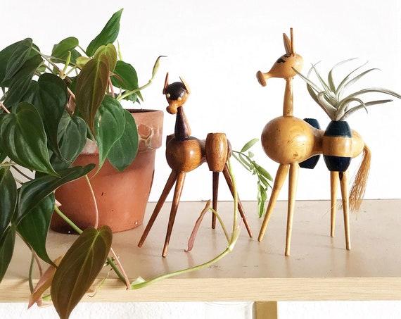 mid century modern carved wood horse figurines | toothpick holders