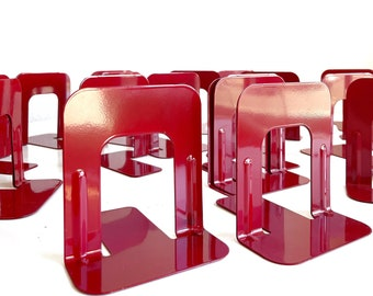 mid century retro red metal office bookends / set of 2